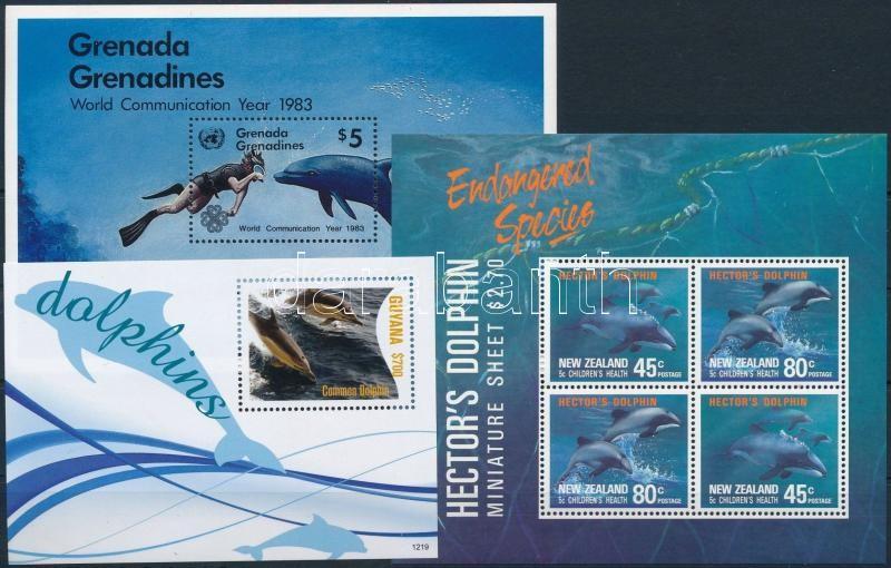 1983-2012 Dolphin 3 blocks, 1983-2012 Delfin motívum 3 klf blokk
