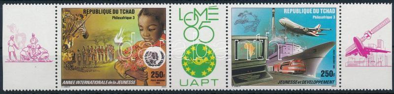 International Stamp Exhibition, PHILEXAFRIQUE margin stripe of 3, Nemzetközi bélyegkiállítás, PHILEXAFRIQUE ívszéli hármascsík