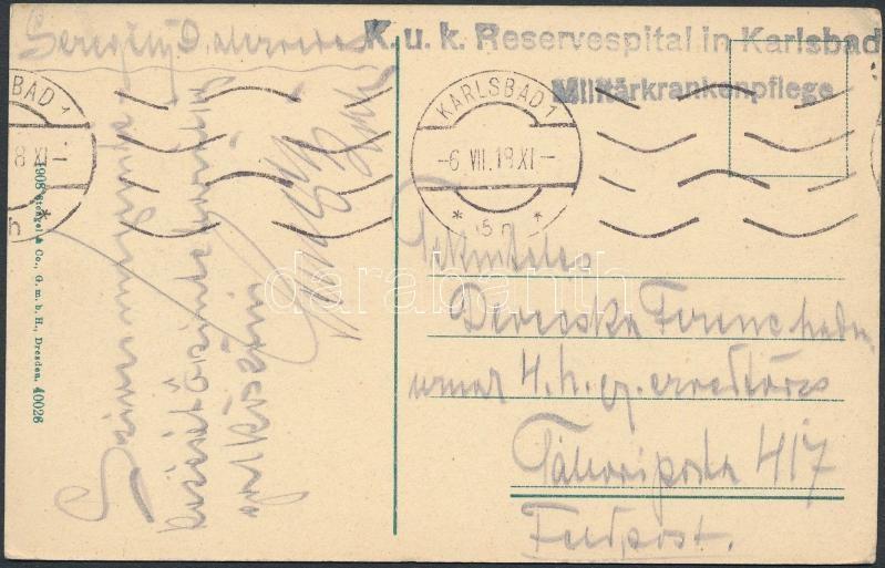 "Tábori posta képeslap ""K.u.k. Reservespital in Karlsbad"", Austria-Hungary field postcard"