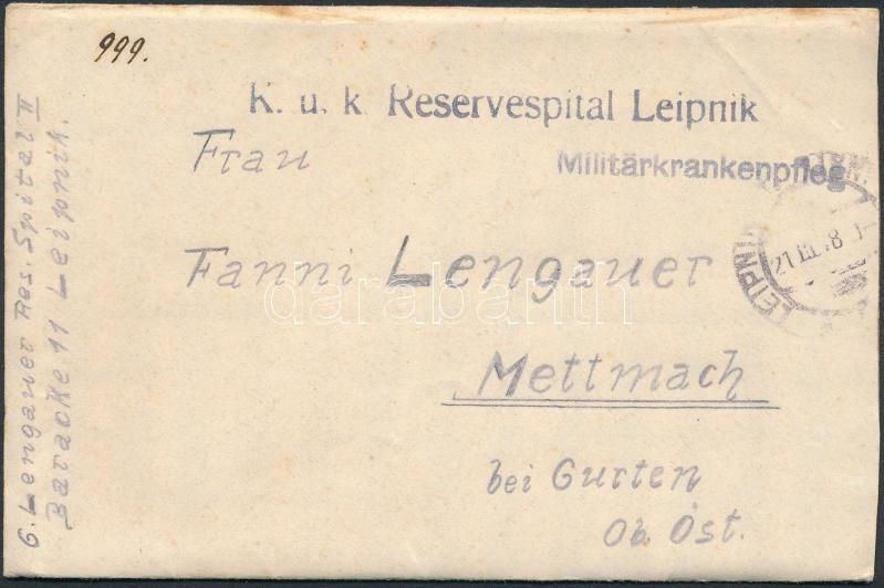 "Austria-Hungary field cover, Tábori posta levél ""K.u.k. Reservespital Leipnik"""