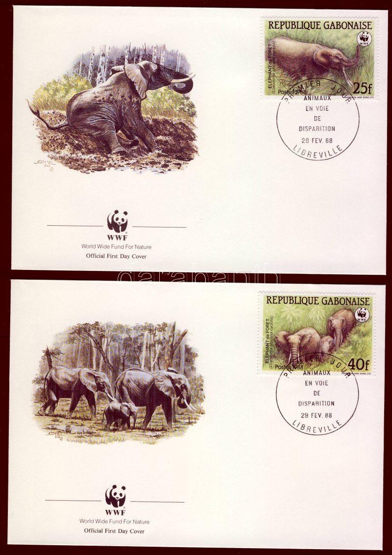 WWF Forest elephants set 4 FDC, WWF Erdei elefántok sor 4 FDC, WWF Waldelefant Satz 4 FDC
