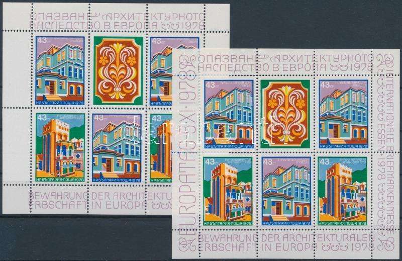 Architectural heritage in Europe + Essen trade fair stamp block, Építészeti örökségek Európában + Esseni bélyegvásár blokk