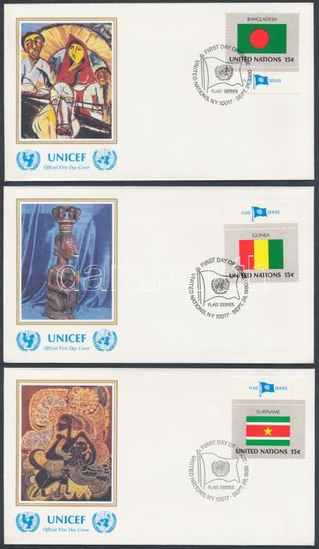 Flags (I) margin set on 16 UNICEF FDC, Zászlók (I) ívszéli sor 16 db UNICEF FDC-n