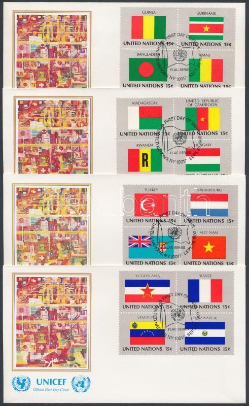 Flags (I) set in blocks of 4 on 4 UNICEF FDC, Zászlók (I) sor 4 négyestömbben 4 db UNICEF FDC-n