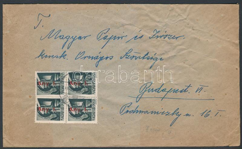 Inflation cover, (7. díjszabás) Nyomtatványként feladott távolsági levél Betűs Any.I./1f négyestömbbel bérmentesítve
