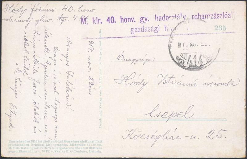 """Austria-Hungary Field postcard, Tábori posta képeslap """"M.kir. 40. honv. gy. hadosztály rohamzászlóalj gazdasági hivatala"""" + """"TP 414"""""""