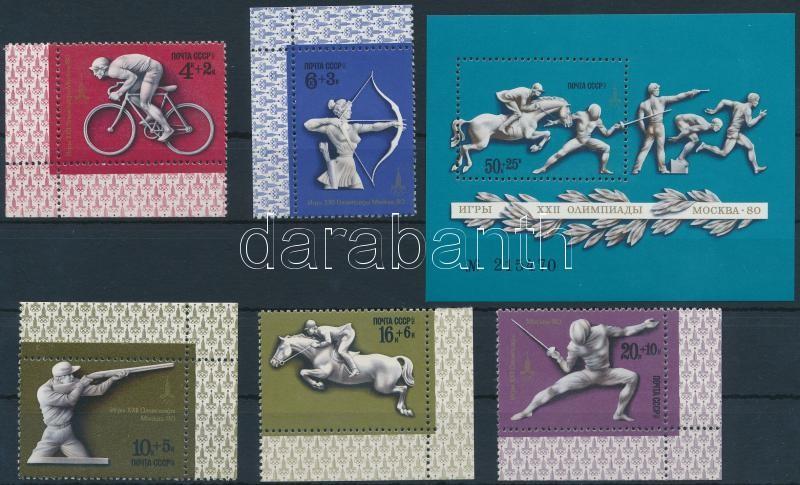 Summer Olympics, Moscow (III) corner set + block, Nyári olimpia, Moszkva (III) ívsarki sor + blokk