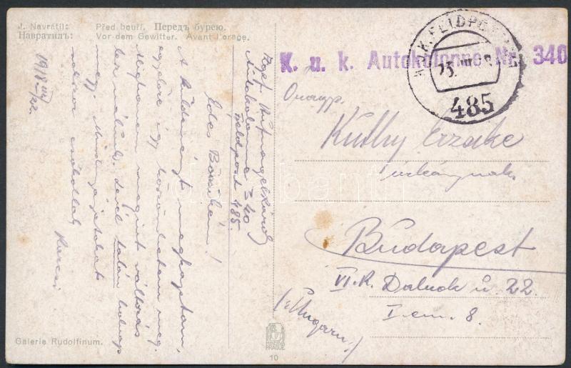 "Austria-Hungary field postcard, Tábori posta képeslap ""K.u.k. Autokolonne Nr. 340."" + ""FP 485"""