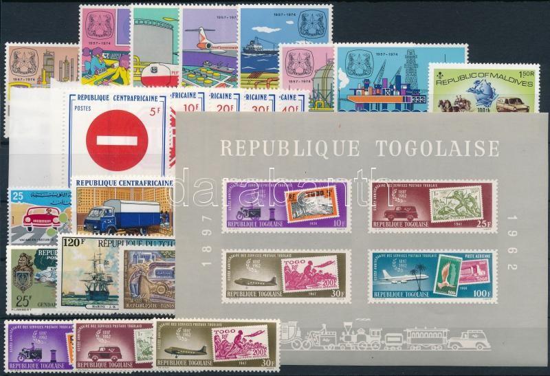1961-1975 Transport 21 stamps + 1 block, 1961-1975 Közlekedés motívum 21 db bélyeg, közte teljes sorok + 1 db blokk
