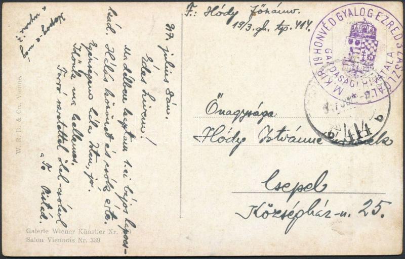 """Austria-Hungary field postcard, Tábori posta képeslap """"M.KIR. 19 HONVÉD GYALOGEZRED 3. ZÁSZLÓALJ GAZDASÁGI HIVATALA"""" + """"TP 414 b"""""""