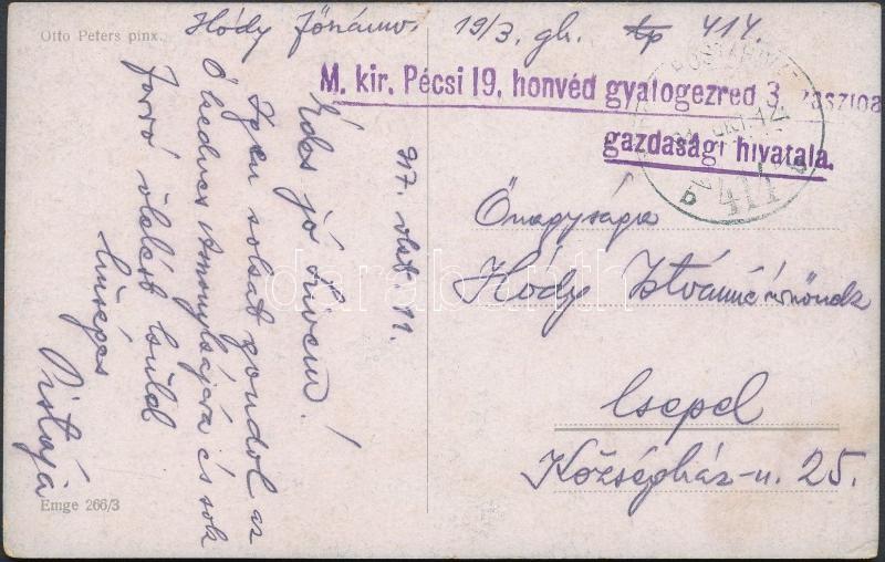 """Austria-Hungary field postcard, Tábori posta képeslap """"M.kir. Pécsi 19. honvéd gyalogezred 3. zászlóalj gazdasági hivatala"""" + """"TP 414 b"""""""