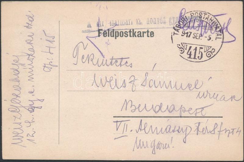 """Austria-Hungary field postcard, Tábori posta levelezőlap """"12. honvéd gyalog ezred"""" + """"TP 415"""""""