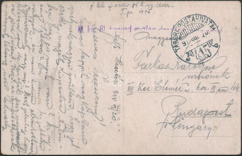 "Austria-Hungary field postcard, Tábori posta képeslap ""M.kir. 81. honvéd gyalog dandár ..."" + ""TP 415 b"""