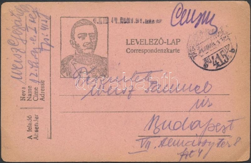 "Austria-Hungary field postcard, Tábori posta levelezőlap ""M.KIR. 12. HONV. GY. EZRED"" + ""TP 415 b"""