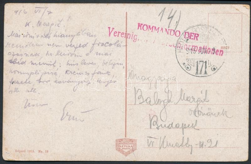 "Austria-Hungary Field postcard, Tábori posta képeslap ""KOMMANDO DER Vereinig..."" + ""HP 171"""
