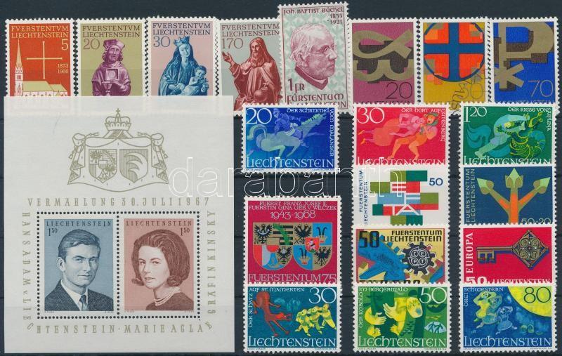 1966-1968 19 stamps + 1 block, 1966-1968 Kis összeállítás: 19 klf bélyeg + 1 blokk stecklapon