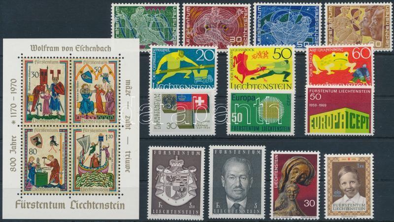 1969-1970 14 stamps + 1 block, 1969-1970 Kis összeállítás: 14 klf bélyeg + 1 blokk
