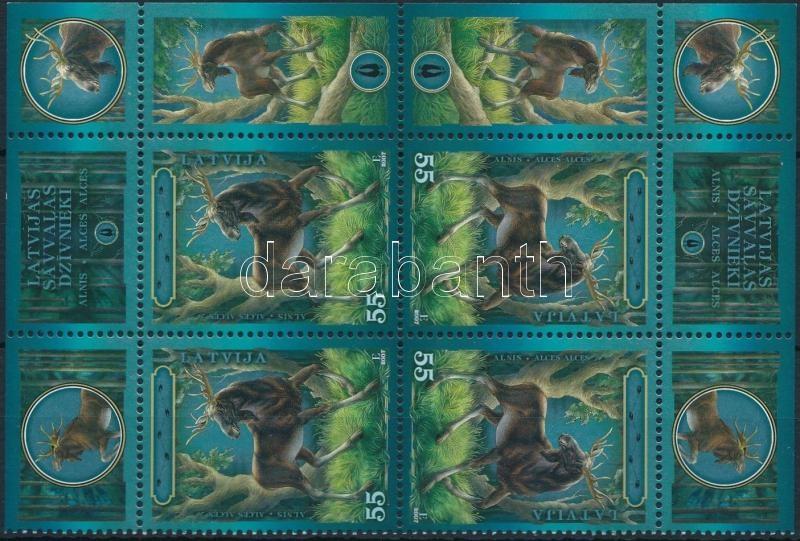 Animal World, moose corner block of 4, Állatvilág, jávorszarvas ívsarki négyestömb