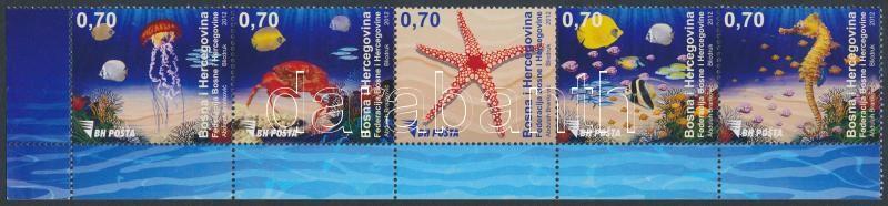 Definitive: Sea animals corner stripe of 5, Forgalmi: tengeri állatok ívsarki ötöscsík