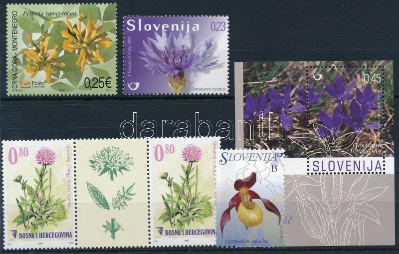 2006-2011 Flower 5 stamps + 1 block, 2006-2011 Virág motívum 5 db önálló érték + 1 db blokk