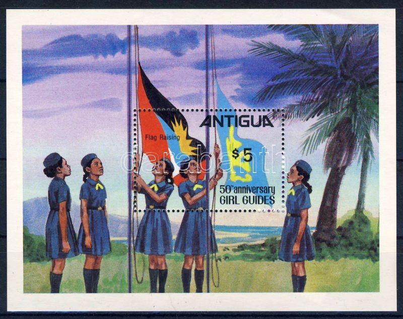 50 years Girl Guides Association of Antigua block, Cserkész blokk, 50 Jahre Pfadfinderinnenverband von Antigua Block