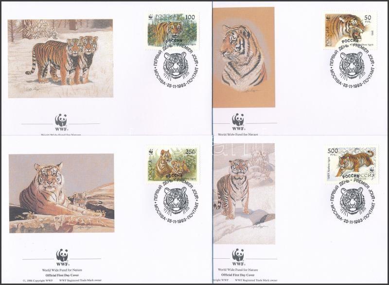 WWF Siberian tiger set + set 4 FDC, WWF: Szibériai tigris sor + sor 4 FDC-n