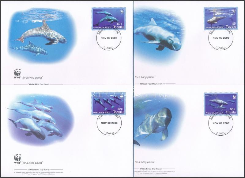 WWF Pygmy killer whales set 4 FDC, WWF: Törpe kardszárnyú delfinek sor 4 db FDC-n