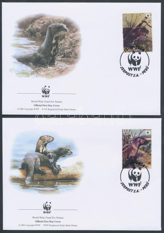 WWF Giant Otter set 4 FDC, WWF: Óriásvidra sor 4 db FDC-n