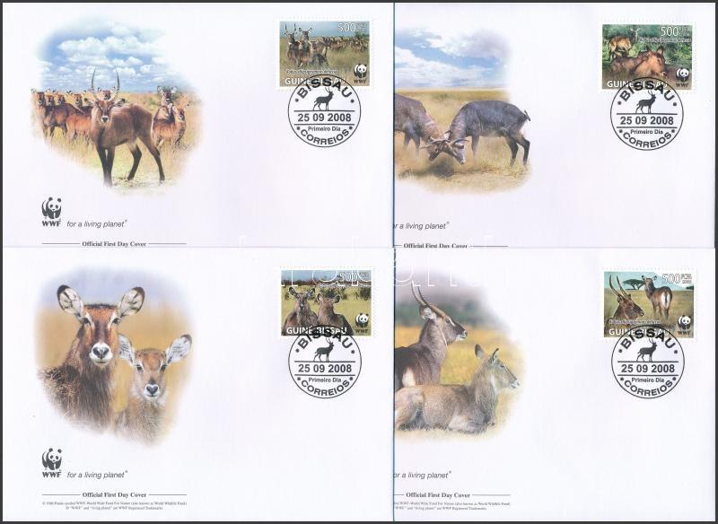 WWF: Antelope set + set on 4 FDC, WWF: Víziantilop sor + sor 4FDC-n
