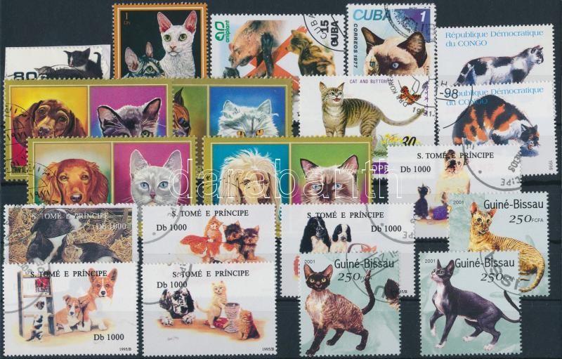 Cats 38 stamps, Macska motívum 38 klf bélyeg 2 stecklapon