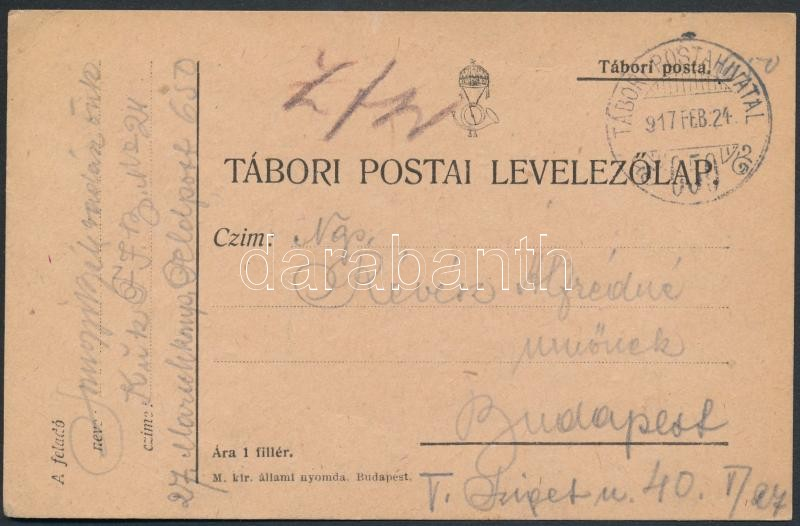 "Austria-Hungary field postcard, Tábori posta levelezőlap ""TP 650"""
