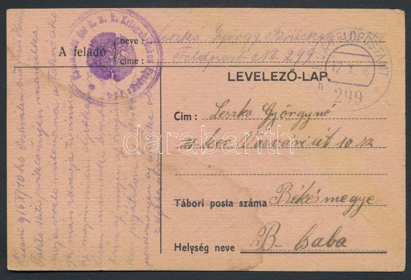 "Austria-Hungary Field postcard, Tábori posta levelezőlap ""Kommando der k.u.k. Kriegsbrücken"" + ""FP 299 b"""