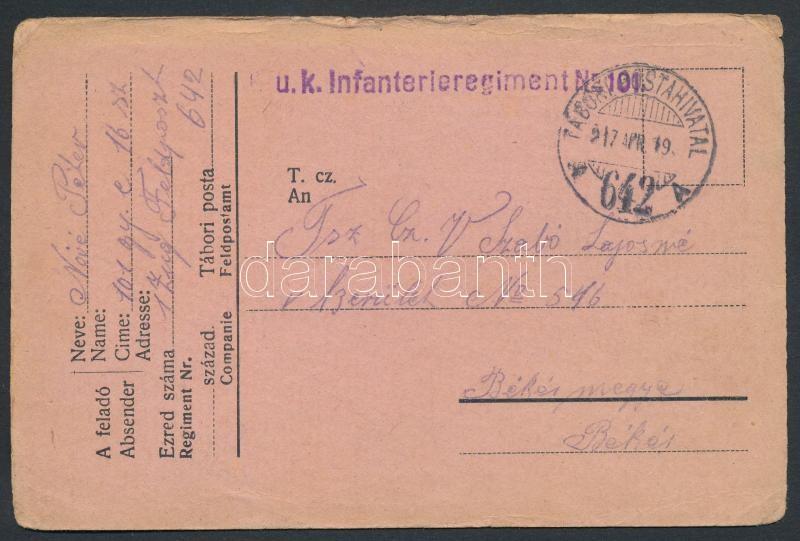 "Tábori posta levelezőlap ""K.u.k. Infanterieregiment Nr.101"" + ""TP 642 A"", Austria-Hungary field postcard"