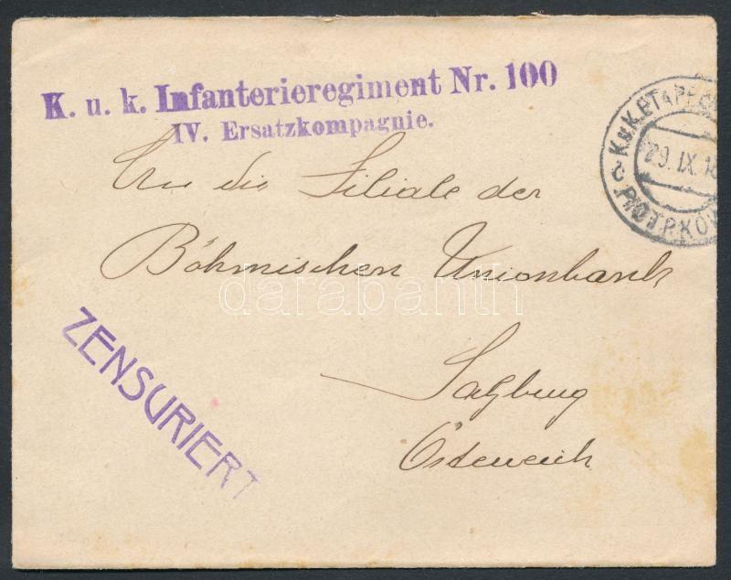 "Austria-Hungary field cover, Tábori posta levél ""K.u.k. Infanterieregiment Nr.100 / IV. Ersatzkompagnie"" + ""EP PIOTRKÓW c"""