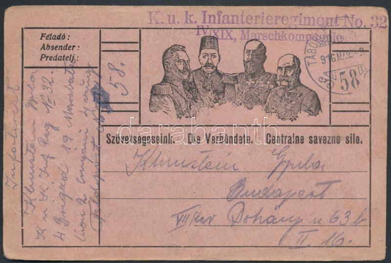"Austria-Hungary Field postcard, Tábori posta levelezőlap ""K.u.k. Infanterieregiment No.32. IV/XIX Marschkompagnie"" + ""TP 58"""