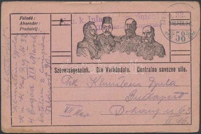 "Austria-Hungary Field postcard, Tábori posta levelezőlap ""K.u.k. Infanterieregiment No.32."" + ""TP 58"""