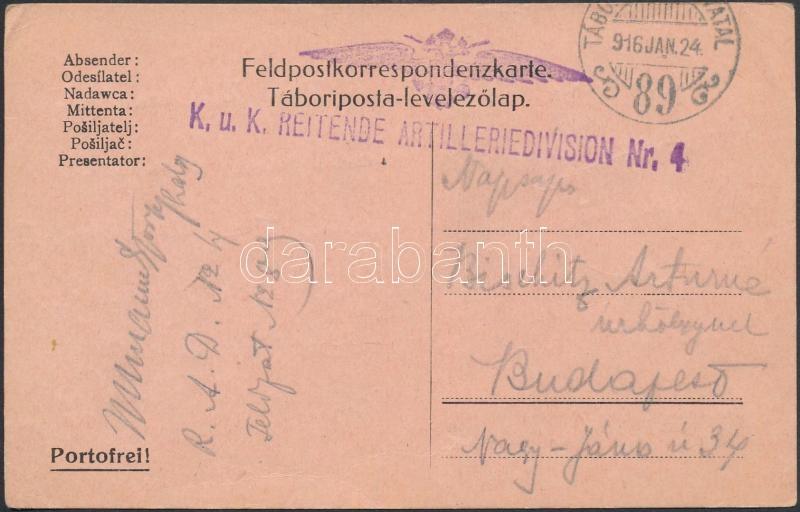 "Tábori posta levelezőlap ""K.u.k. REITENDE ARTILLERIEDIVISION Nr.4."" + ""TP 89"", Austria-Hungary Field postcard"