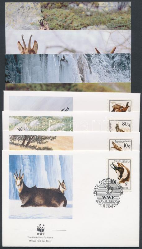 WWF Chamois set 4 FDC + 4 postcard, WWF: Zerge sor 4 FDC-n + 4 db képeslap