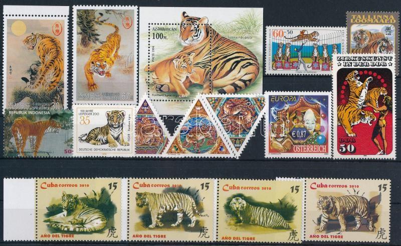 1978-2010 Tiger 3 sets + 1 block + 6 stamps, 1978-2010 Tigris motívum 3 db sor + 1 db blokk + 6 db önálló érték
