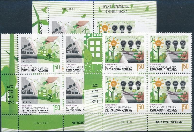 Europa CEPT, Environmental Awareness set corner blocks of 4 + block, Europa CEPT, Környezettudatosság sor ívsarki 4-es tömbökben + blokk