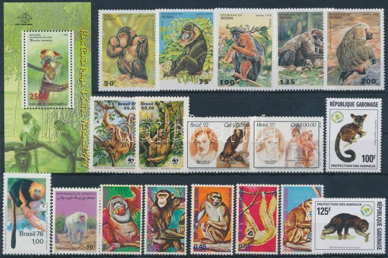 1975-1998 Monkey 2 sets + 1 block + 6 stamps, 1975-1998 Majom motívum 2 db sor + 1 db blokk + 6 db önálló érték