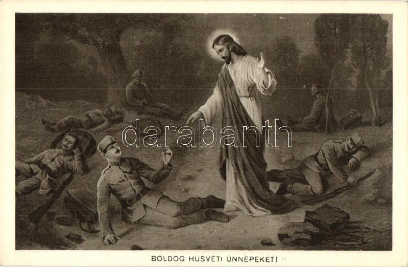 WWI Military Easter greeting card, Jesus, H.H.i.W. Nr. 163.,