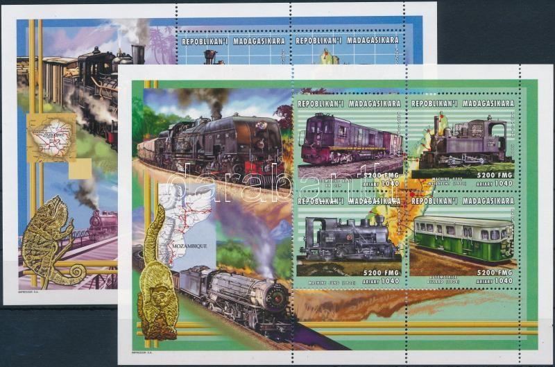 Trains minisheet set, Vonatok kisívsor 4 db stecklapon