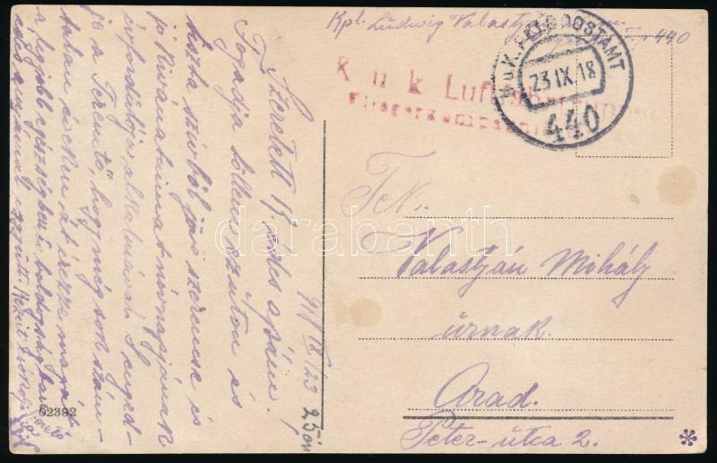 "Austria-Hungary field postcard, Képeslap ""K.u.k. Luftfahrtruppen Fliegerkompagnie..."" + ""FP 440"""