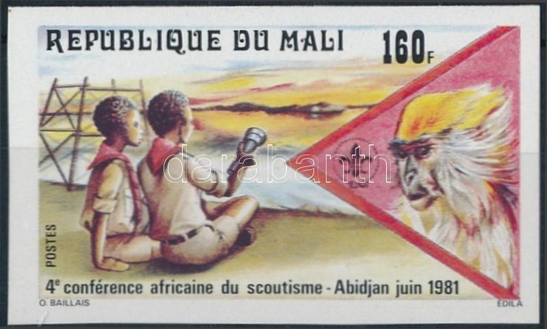 Scouts, monkey imperf stamp, Cserkész, majom vágott bélyeg