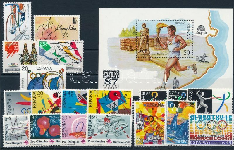 1983-1996 Olympcis 7 stamps + 12 sets + 1 block  + block of 20, 1983-1996 Olimpiai kis tétet: 7 klf önálló érték + 12 klf sor + 1 blokk + 20-as tömb  3 stecklapon