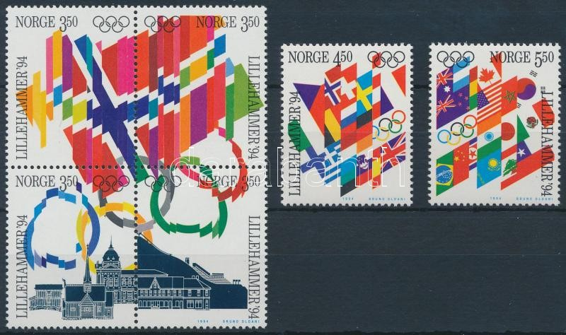 Winter Olympics set with block of 4, Téli Olimpia sor négyestömbbel
