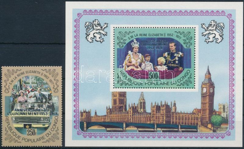 British royal family overprinted stamps + block, Brit uralkodóház felülnyomott bélyeg + blokk