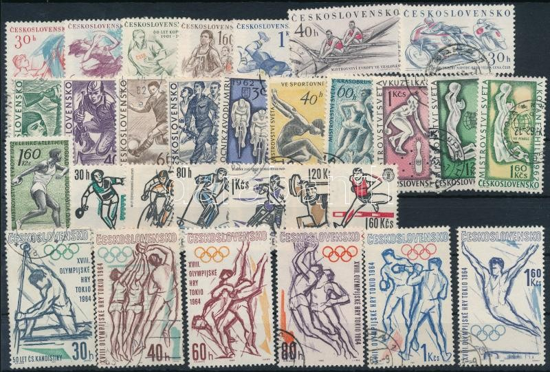 1958-1963 Sport motívum 52 klf bélyeg, közte sorok 2 db stecklapon, 1958-1963 Sport 52 stamps