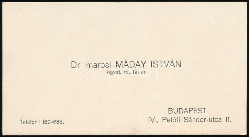 Máday István, Marosi (1879-1959): idegorvos, individuálpszichológus, az államtudományok doktora aláírása és sorai névjegykártyán.